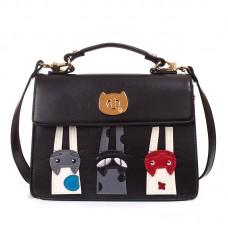 Сумка с кошками Beibaobao Midi 55326, pu кожа, черная