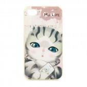 """Чехол для iPhone 4/4S  My Life """"Полосатый котик"""""""