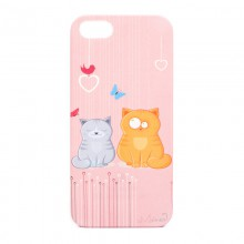 """Чехол для iPhone 5 """"Забавные кошки"""", розовый"""