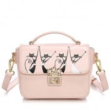 Сумка Duolaimi Танцующие Кошки 55321, pu кожа, розовая
