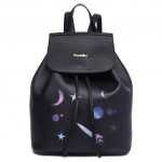 Рюкзак с принтом Космос 55379, экокожа, черный