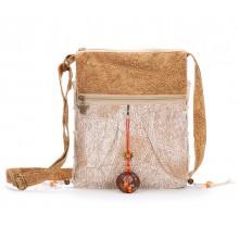 Сумка этническая 55270, текстиль, светло-бежевая
