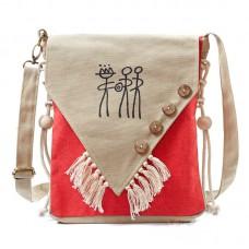Сумка этническая 55268, текстиль, красная