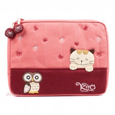 """Сумка-чехол для планшета, iPad и ноутбука """"Розовое счастье японского кота и сова"""""""