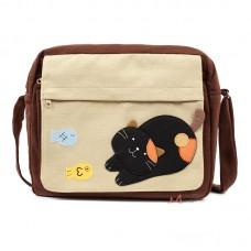 """Сумка """"Черный котик, играющий с рыбками"""""""