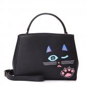 Сумка Подмигивающая Кошка 55300, экокожа, черная
