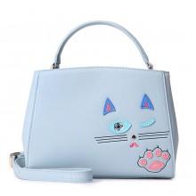 Сумка Подмигивающая Кошка 55301, экокожа, голубая