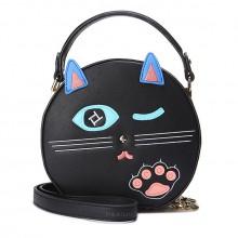 Сумка Подмигивающая Кошка 55302, круглая, экокожа, черная