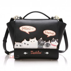 Сумка с кошками Duolaimi - Mini Hello, pu кожа, черная