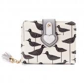 Кошелек с рисунком птичек 55357, pu кожа, белый