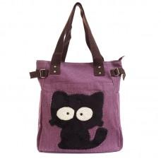 Сумка с черным котом Kaukko 55337, холщовая, лиловая