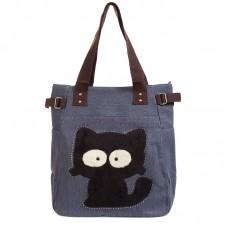 Сумка с черным котом Kaukko 55336, холщовая, синяя