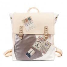 Рюкзак с аппликациями Paris 55350, pu кожа, кремовый