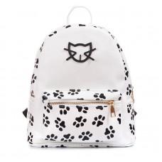 Рюкзак с отпечатками кошачьих лапок 55297, pu кожа, белый