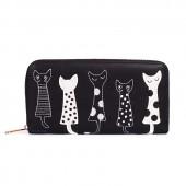 Кошелек с кошками, Five Cats, черный