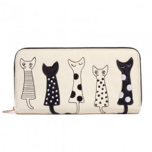 Кошелек с кошками, Five Cats, белый