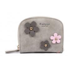Кошелек Prettyzys с цветочками, 11х8,5х2,5 см, серый