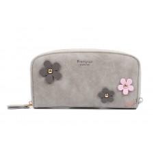 Кошелек Prettyzys с цветочками, 18х9,5х2 см, серый