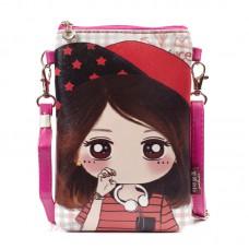 Сумка-кошелек KKBAG с рисунком девочки 55285, pu кожа, лиловая