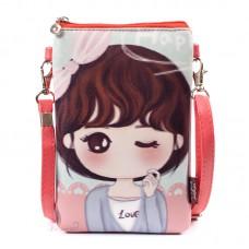 Сумка-кошелек KKBAG с рисунком девочки 55284, pu кожа, розовая