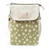 Сумка-кошелек в цветочек 55280, хлопок, зеленая