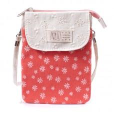Сумка-кошелек в цветочек 55281, хлопок, красная