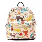 Рюкзак с рисунком кошек Cats Lawn, pu кожа, белый