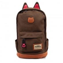 Рюкзак с кошачьими ушками, текстиль, коричневый