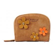 Кошелек Prettyzys с цветочками, 11х8,5х2,5 см, коричневый