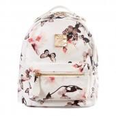 Рюкзак с принтом бабочек 55384, pu кожа, белый