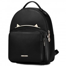 Рюкзак с ушками 55374, натур. кожа, мини, черный