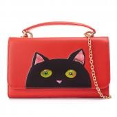 Сумка-кошелек Premium Cat 55312, натур. кожа, красная