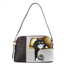 Сумка Кошка с клубком 55309, натур. кожа, черная