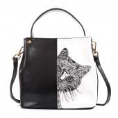 Сумка с рисунком кошки Patterns Cat 55306, натур. кожа, черная