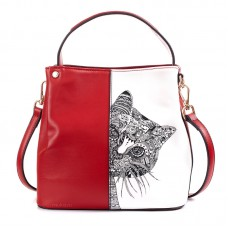 Сумка с рисунком кошки Patterns Cat 55307, натур. кожа, красная