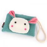 Сумочка-кошелек Мордочка кролика в японском стиле, 17х11 см, зеленый