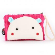 Сумочка-кошелек Мордочка медвежонка в японском стиле, 17х11 см, розовый