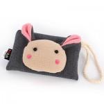 Сумочка-кошелек Мордочка кролика в японском стиле, 17х11 см, серый