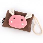 Сумочка-кошелек Мордочка кролика в японском стиле, 17х11 см, коричневый