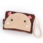 Сумочка-кошелек Мордочка медвежонка в японском стиле, 17х11 см, коричневый