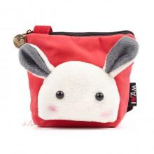 Сумочка-кошелек Мордочка кролика в японском стиле, 15х13 см, красный