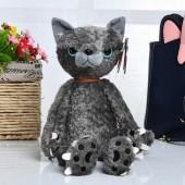 Мягкая игрушка - Сердитый кот, 36 см, серый