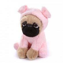 Мягкая игрушка - щенок Мопс, 22 см, розовый