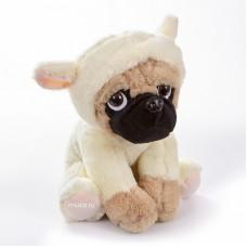Мягкая игрушка - щенок Мопс, 22 см, белый