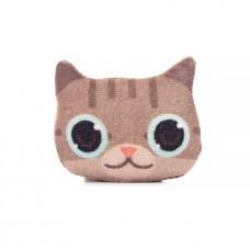 Брошь Котик Любопытный, коричневый