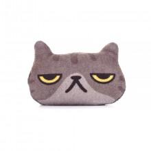 Брошь Котик Разочарованный, серый