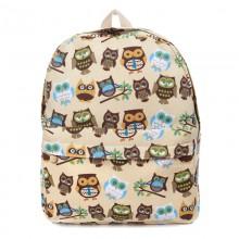 Рюкзак с принтом Забавные Совы 55343, холст, бежевый