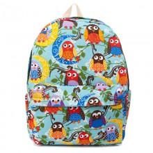 Рюкзак с принтом Лунные Совы 55346, холст, голубой