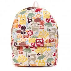 Рюкзак с принтом Лесные Совы 55344, холст, бежевый