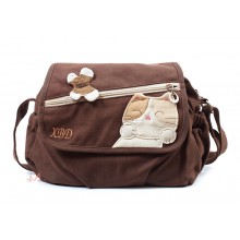 Сумка XBD с кошкой, с ремешком через плечо, коричневая, 55229
